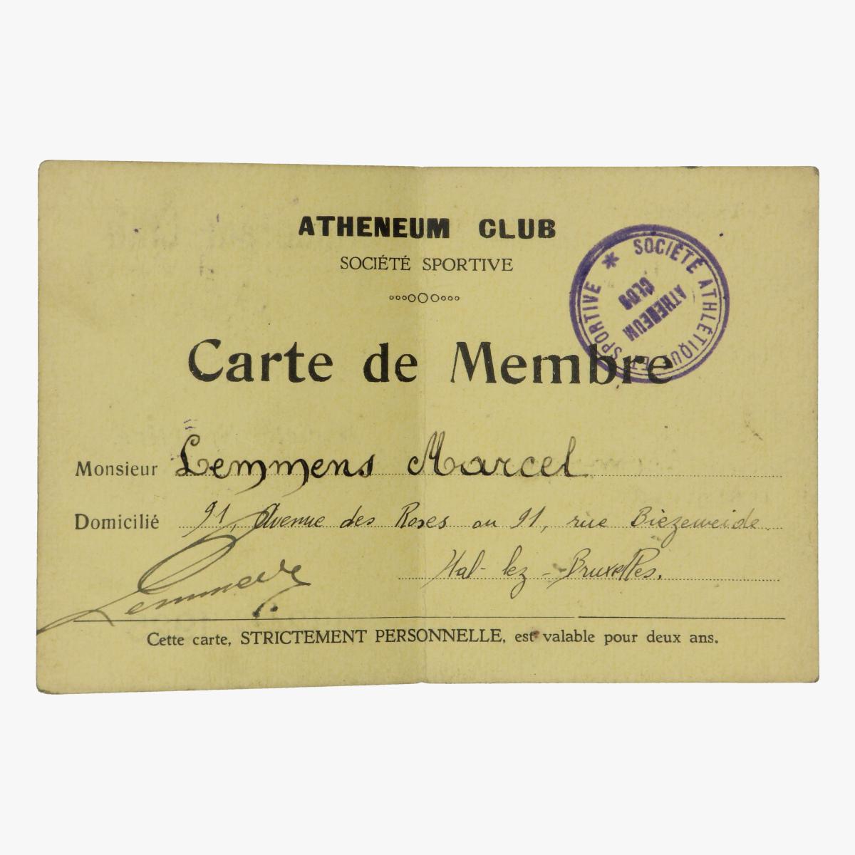 Afbeeldingen van lidmaatschap atheneum club 1924-1925