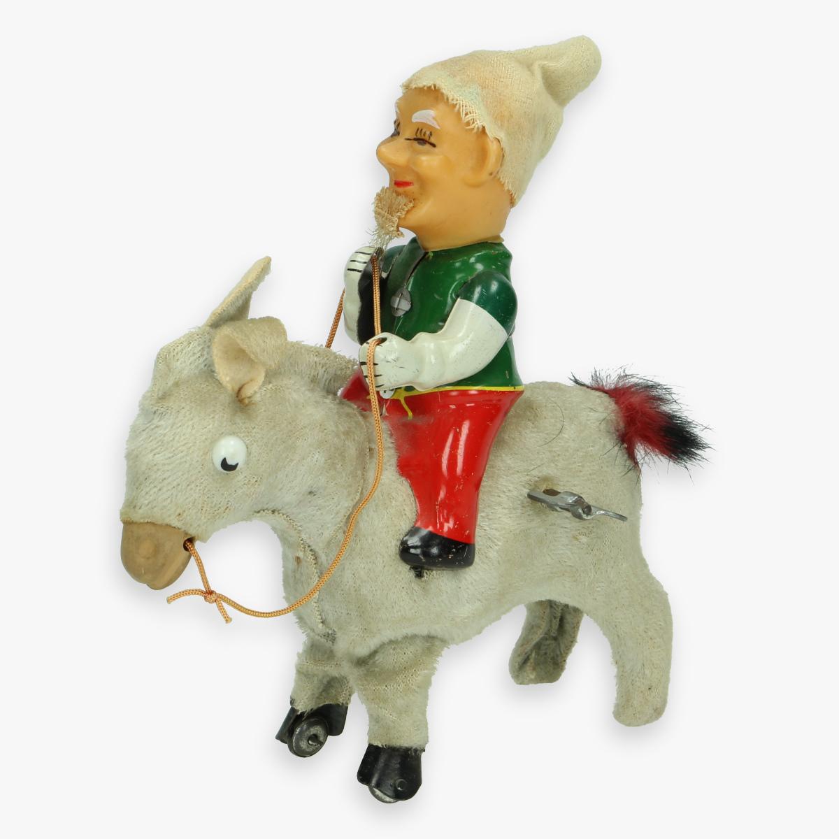 """Afbeeldingen van tin toy donkey - wind up -  made in japan"""" dwarf rider """" jaren 50 werkt nog"""