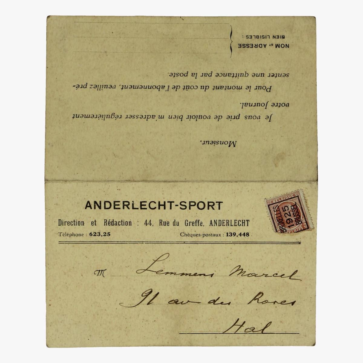 Afbeeldingen van aanvraag formulier voor dagblad anderlechtsport 1925