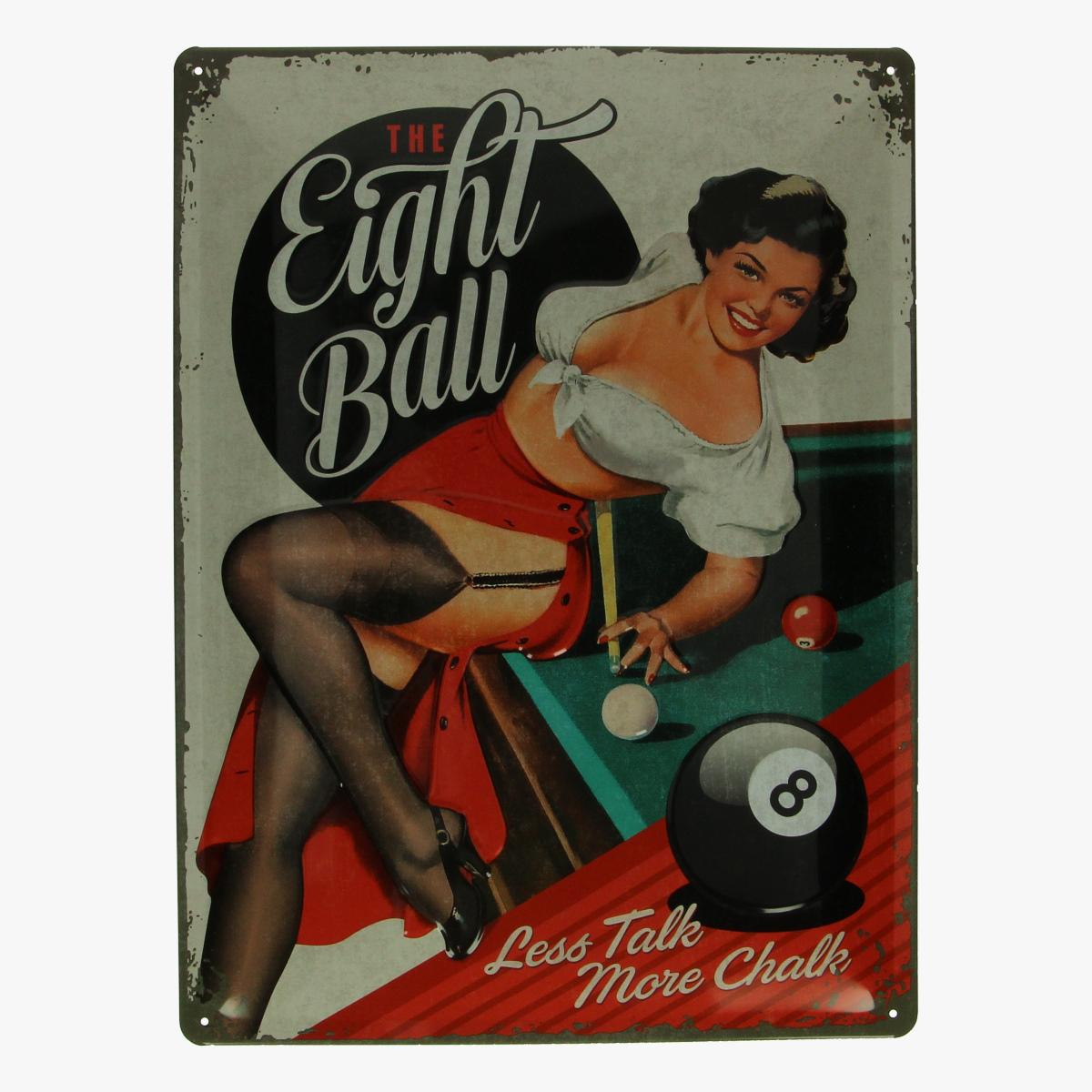 Afbeeldingen van blikken bordje Eight Ball repro