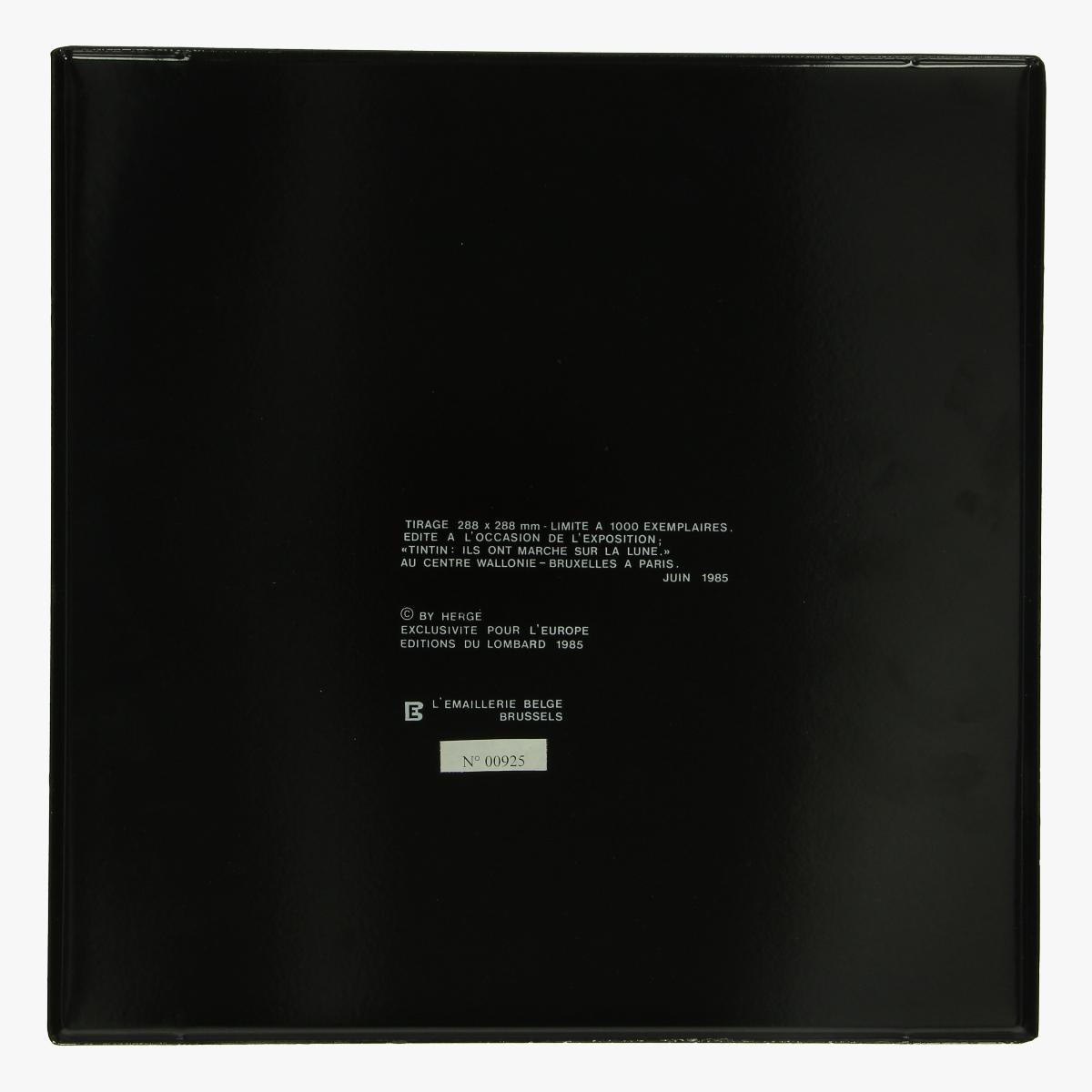 Afbeeldingen van emaille bordje kuifje  Herge 1985