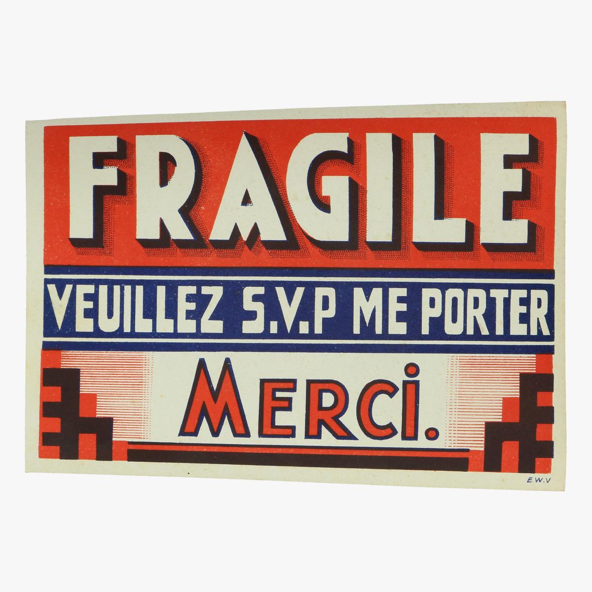 Afbeeldingen van gegomde etiketten fragile veuillez s.v.p me porter merci.