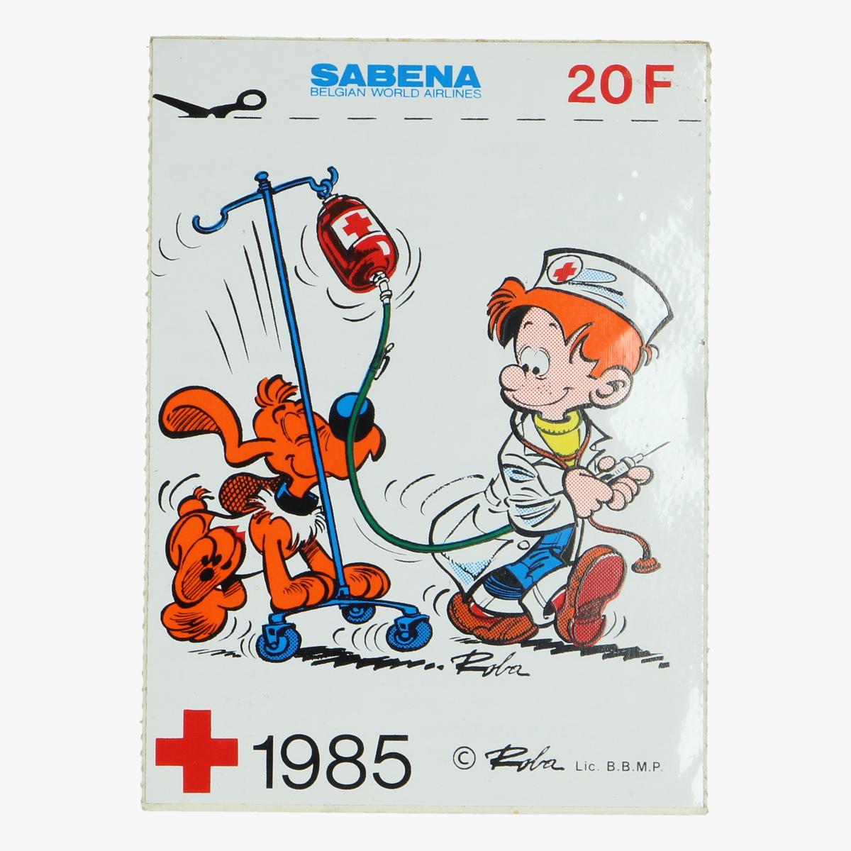 Afbeeldingen van sticker bollie en billie ,sabena, het belgische rode kruis 1985