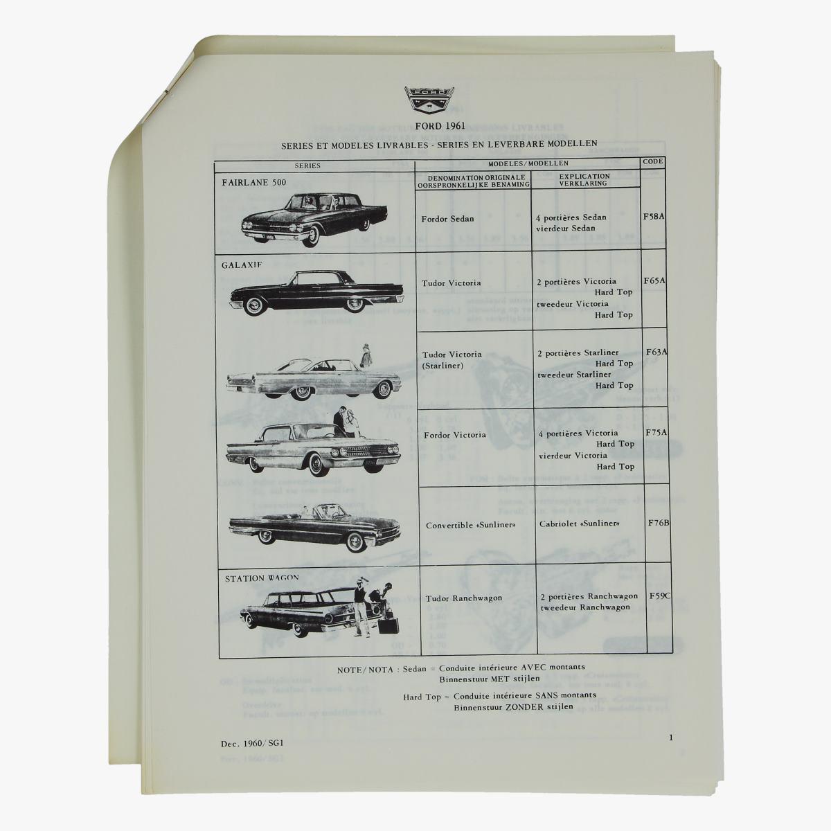 Afbeeldingen van oude folder Ford 1961