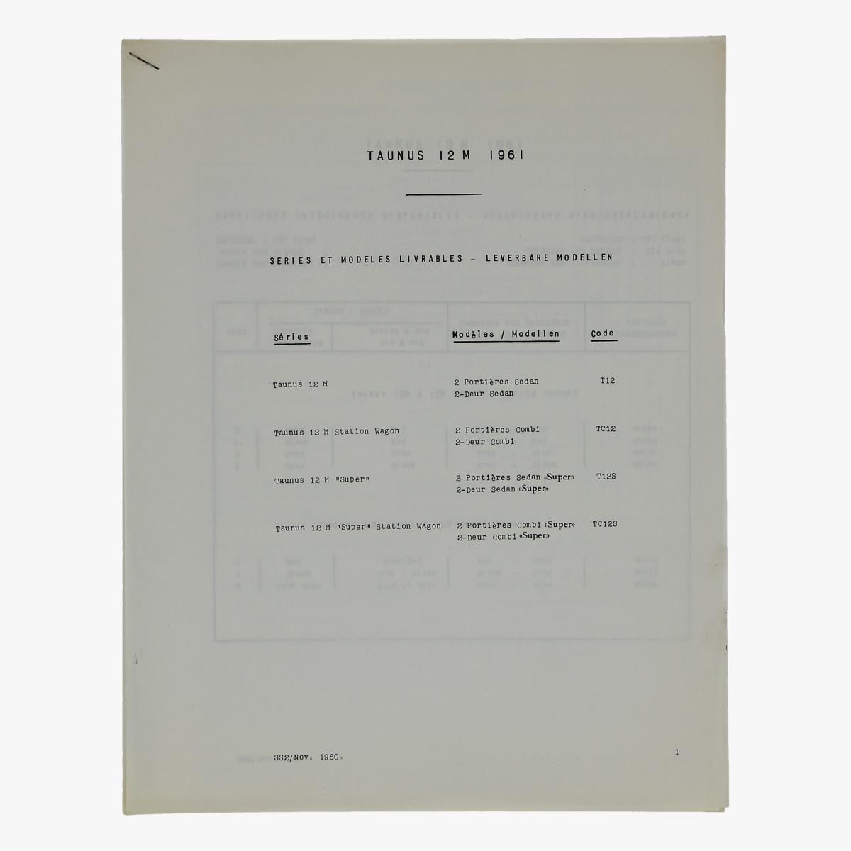 Afbeeldingen van oude folder taunus 12m 1961