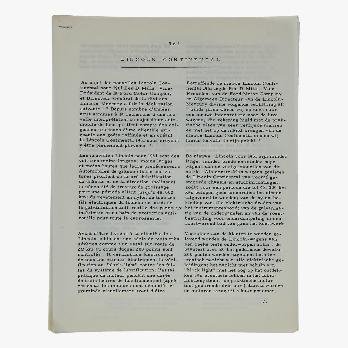 Afbeeldingen van oude folder lincoln continental 1961