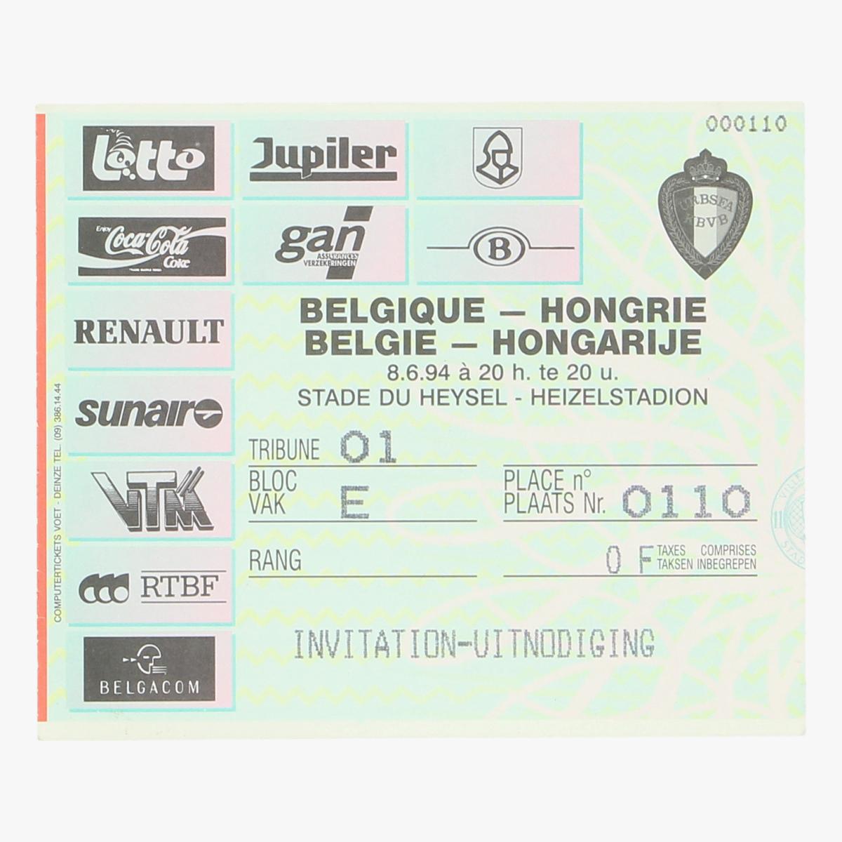 Afbeeldingen van voetbalticket Belgie - Hongarije