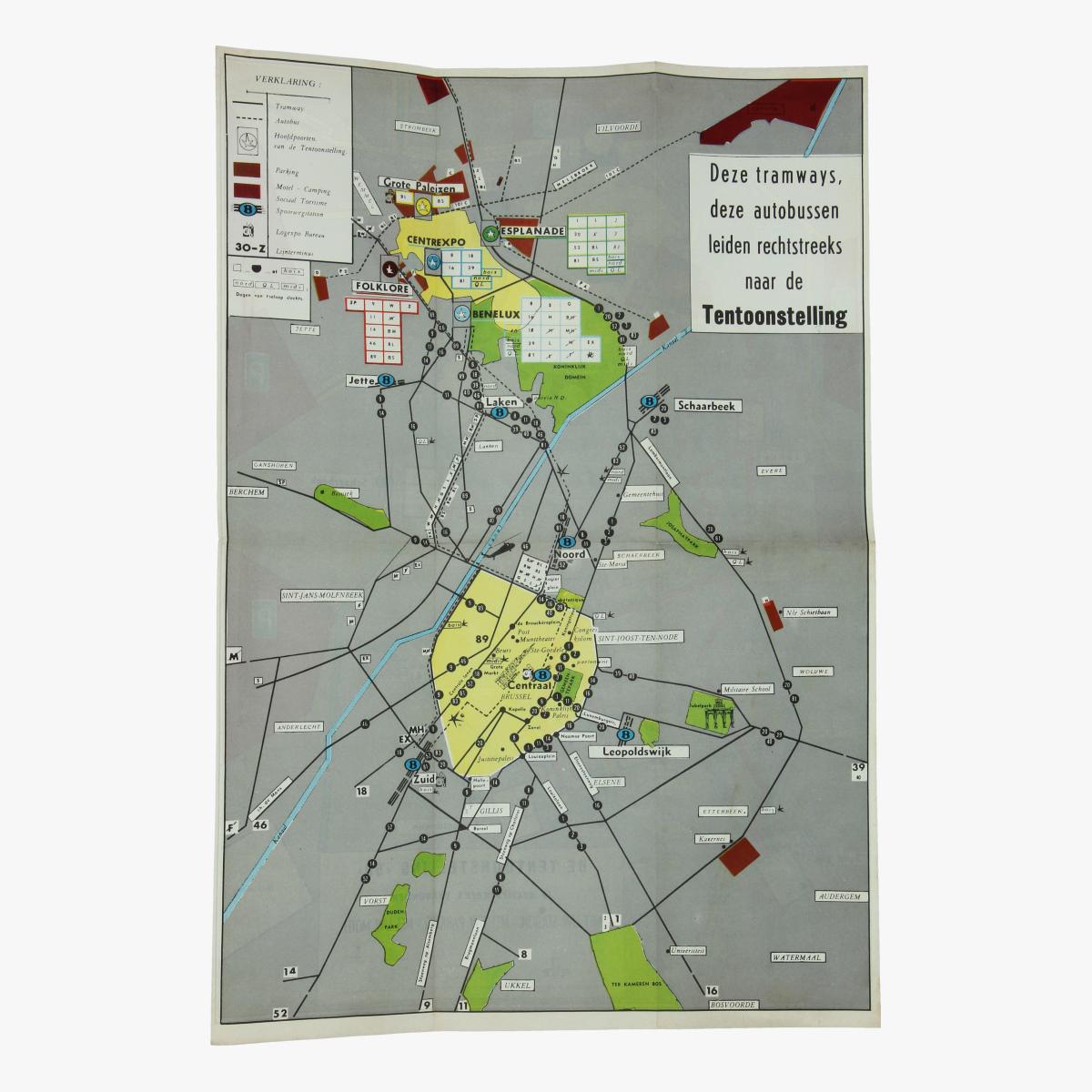 Afbeeldingen van expo 58 plan tramways, autobussen, station, parking en motel