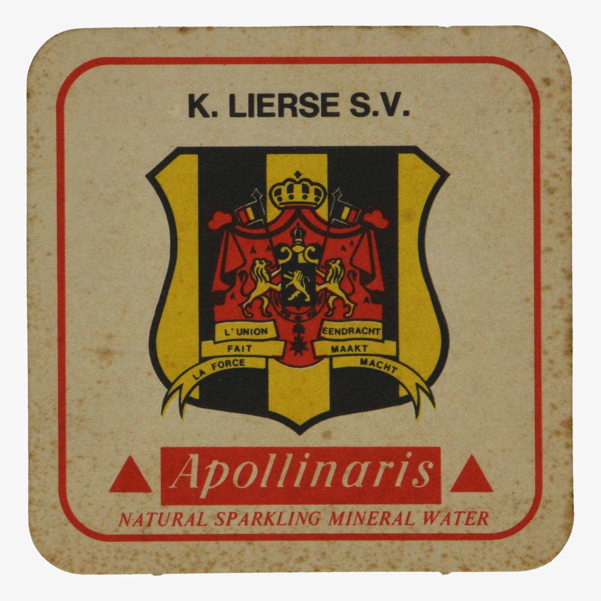 Afbeeldingen van bierkaartje k. lierse s.v apollinaris