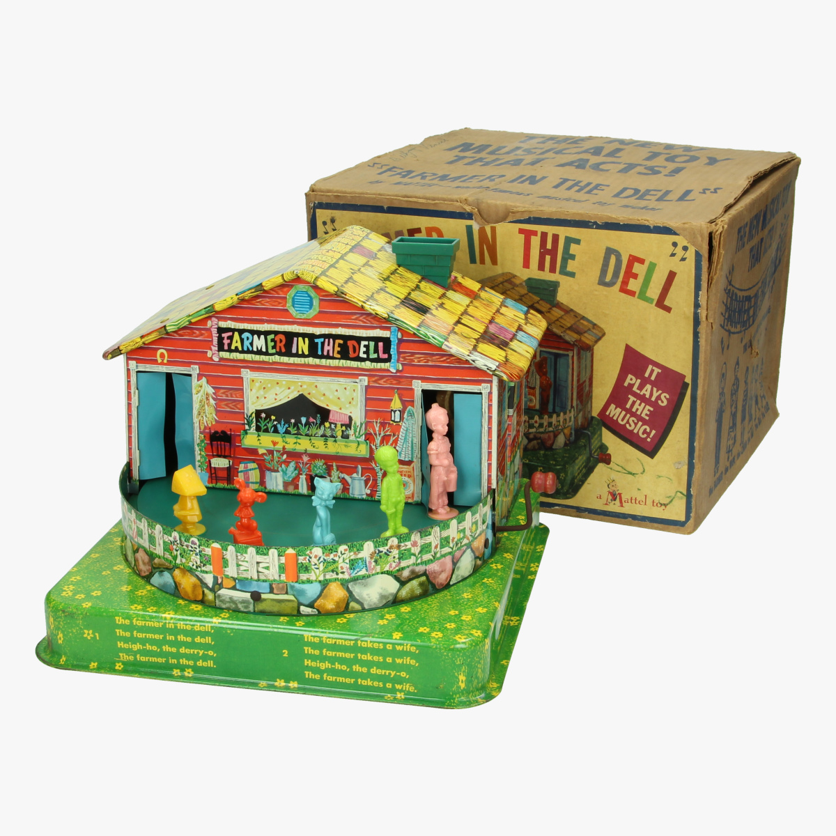 """Afbeeldingen van The new musical toy that acts!""""Farmer in the dell"""" by Mattel 1954"""