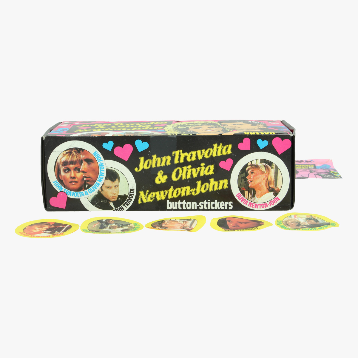 Afbeeldingen van vintage vollde doos button stickers john travolta & olivia newton-john