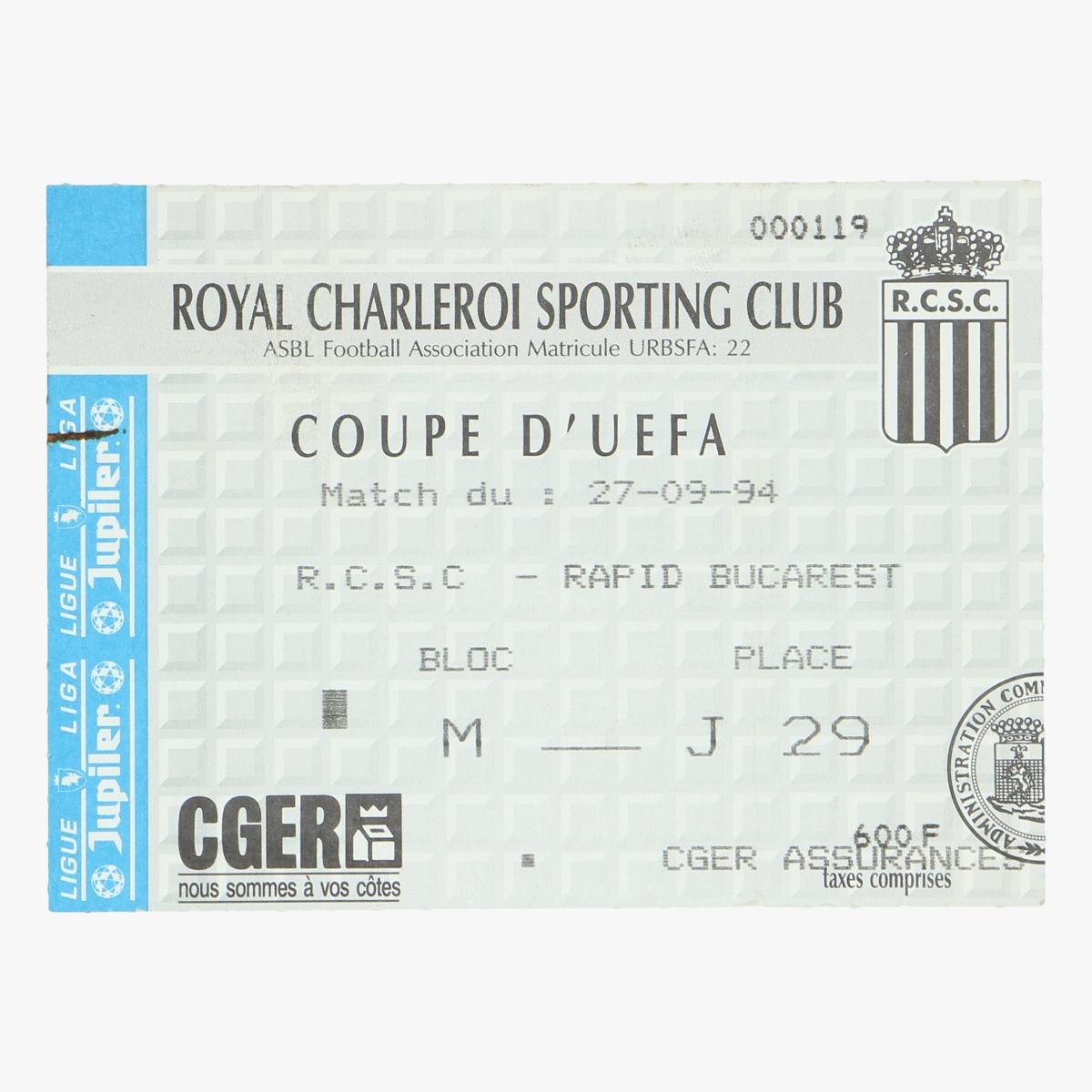 Afbeeldingen van voetbalticket royal charleroi sporting - bucarest coupe d' uefa