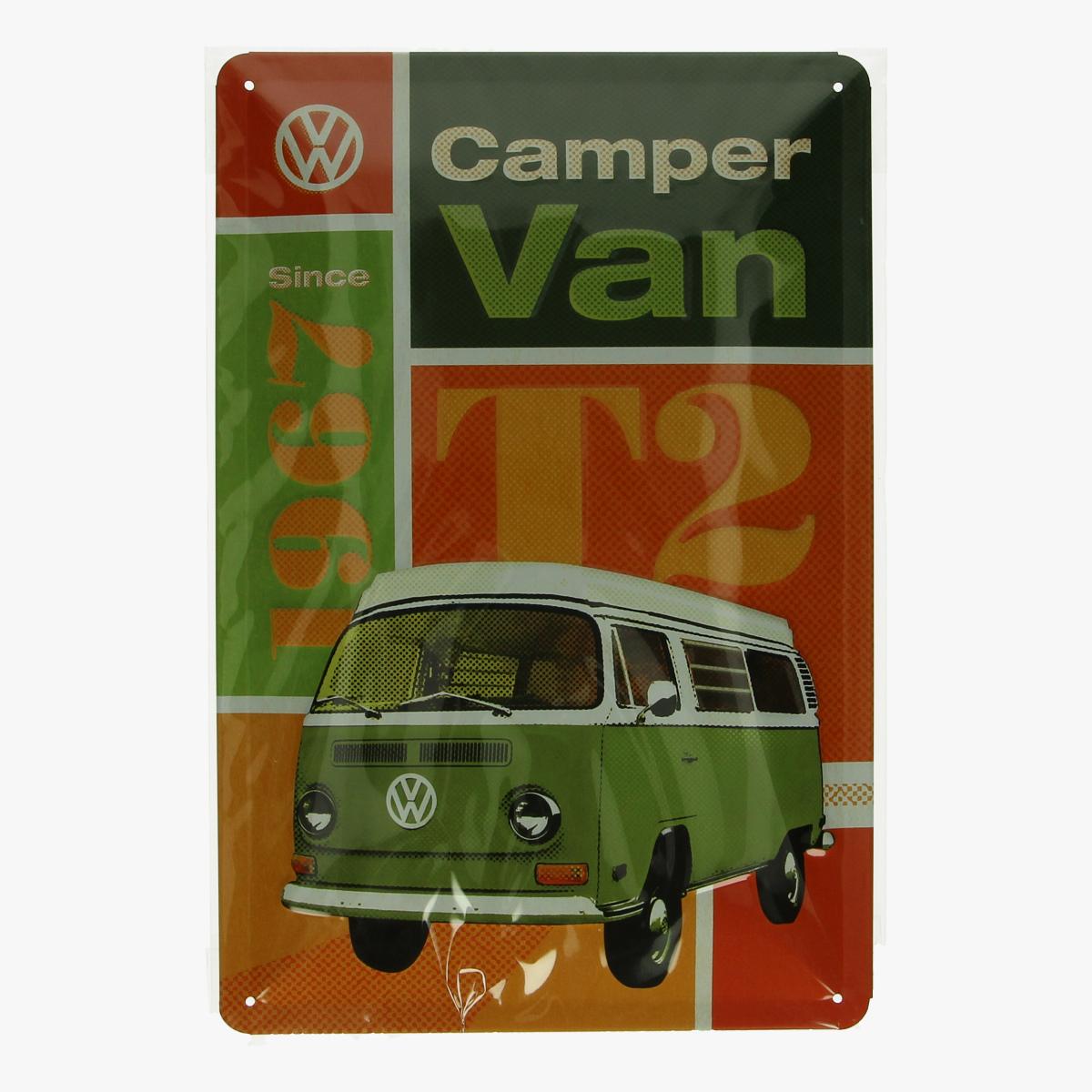 Afbeeldingen van blikken bordje volkswagen camper van T2 geseald repro