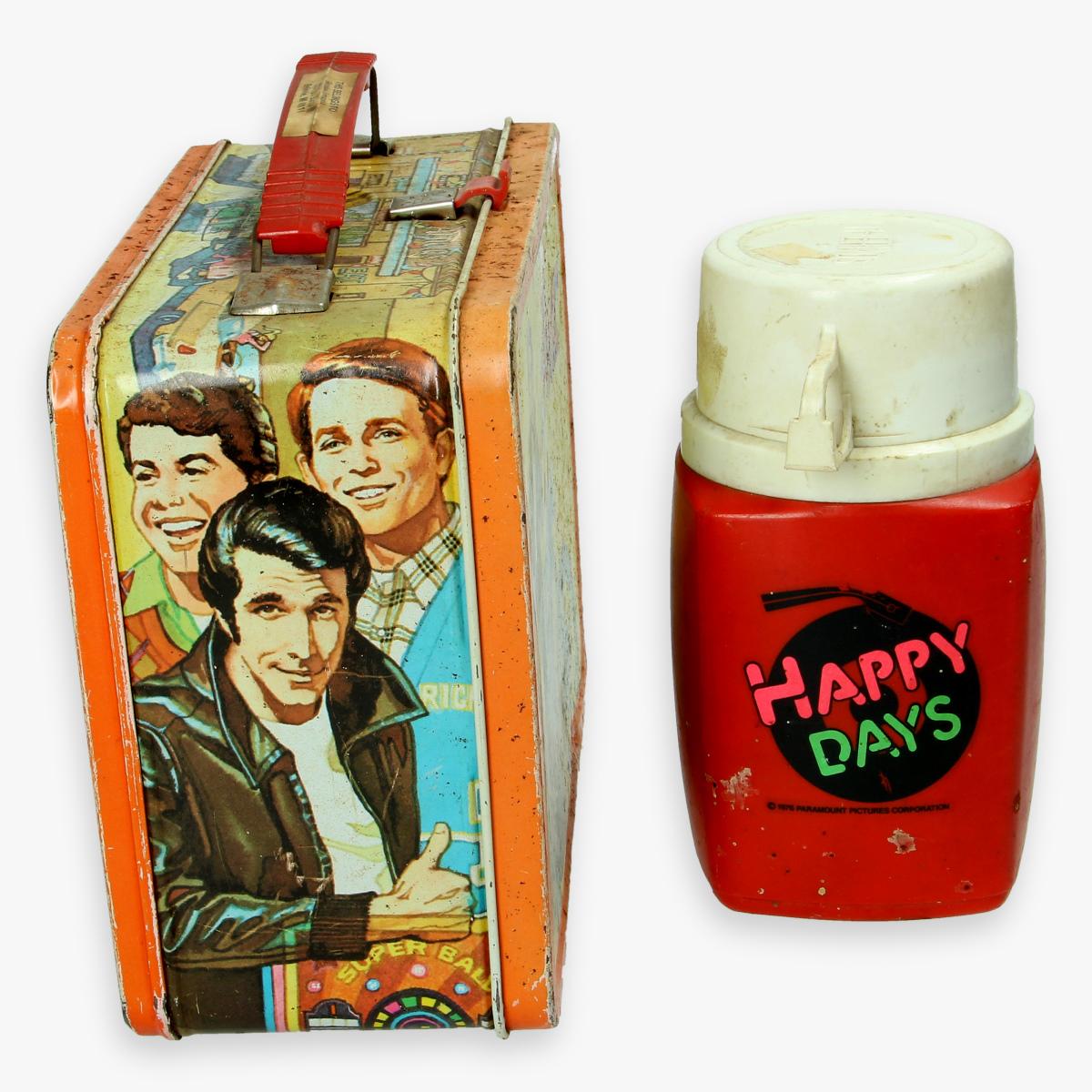 """Afbeeldingen van lunch box """" the fonz """" 1976 met thermos"""