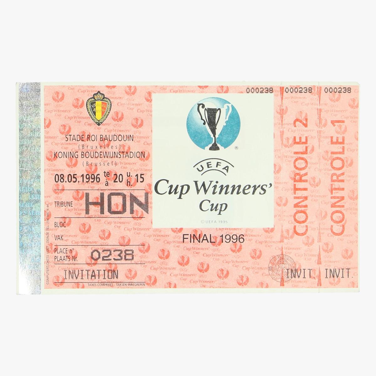 Afbeeldingen van ticket cup winners uefa final 1996 koning boudewijnstadion