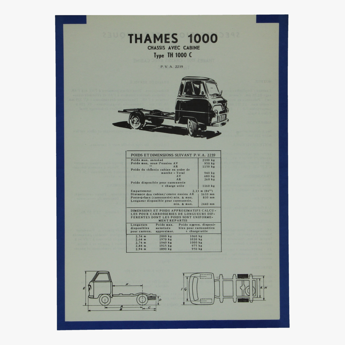 Afbeeldingen van thames 1000 chassis avec cabine type th 1000c