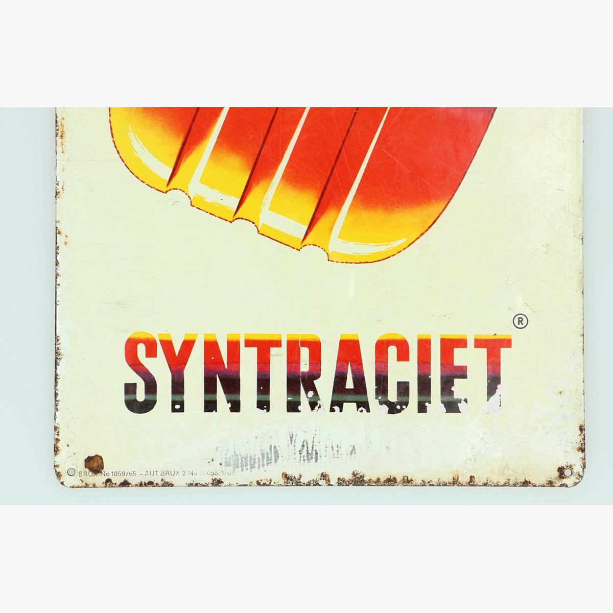 Afbeeldingen van blikken reclame bordje syntraciet 1965